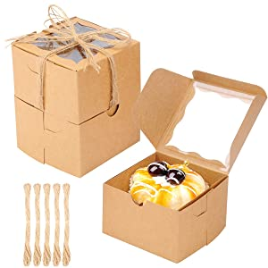 50PCS Bakery Boxes with Window Kraft Paperboard Pastry Box Cookie Boxes 4x4x2.5 inches (Brown)