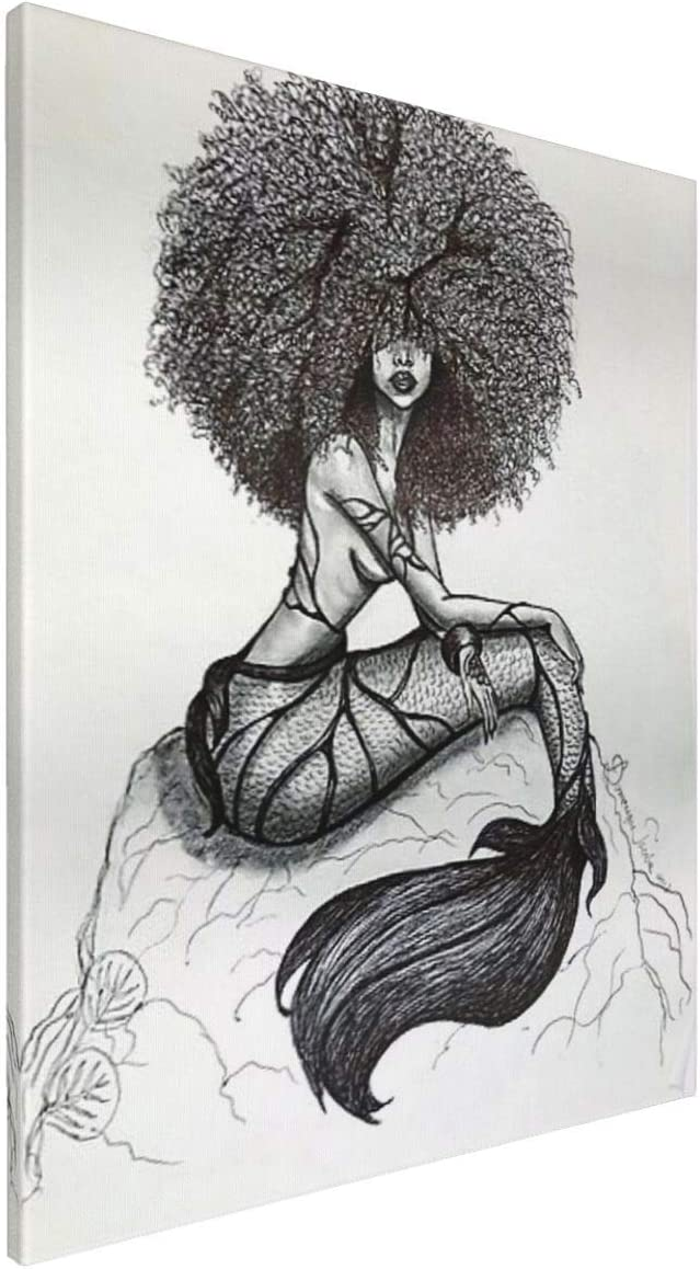 African American Wall Art Black Girl Canvas Wall Art Dector Giclee Printed Pictures Wall Decor - Mermaid Hand Painting For Living Room Bedroom Framed Ready To Hang 16x20 Inch