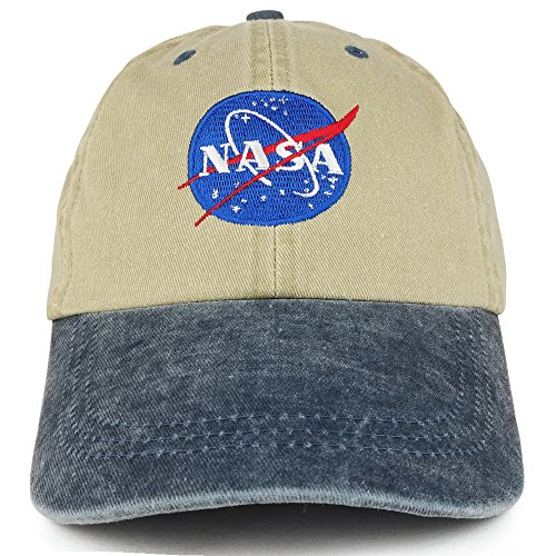 (Youth NASA Insignia Embroidered Soft Washed Cotton Twill Cap - KHAKI NAVY)