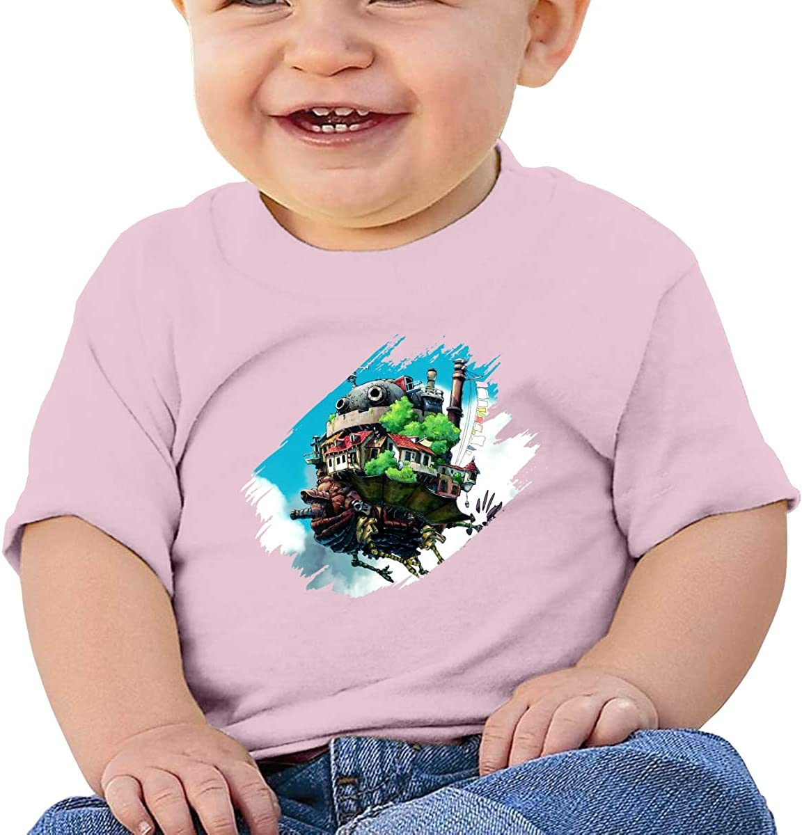 Wokeyia Baby Howls Moving Castle Poster Black Tshirts Skin-Friendly Tshirts for Baby Girl