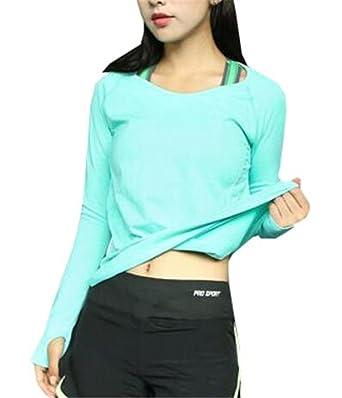 AILIENT Femme T-Shirt Manche Longue de Sport Débardeur Extensible  Compression Tops avec Manche Longue pour Yoga Fitness Respirant pour Femme  Couleur Unie  ... a8ace63cb20