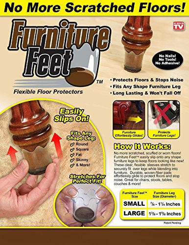 Ferryman Furniture Feet Flexible Floor Protectors 8pc Pack (Large, Fits Legs 1 3/8
