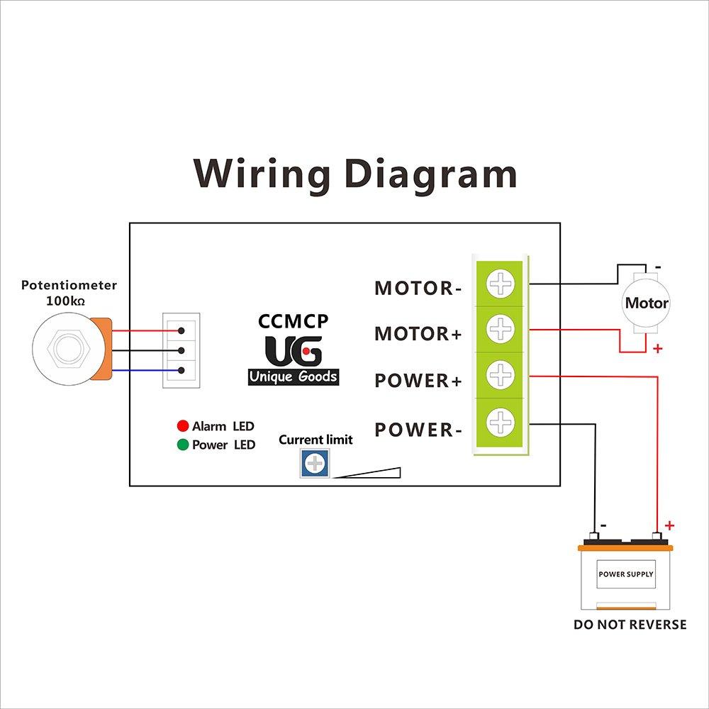 uniquegoods Controlador de Velocidad del Motor de CC ajustable Interruptor de velocidad variable PWM ajustable de sobrecarga de corriente de 24V 36V ...