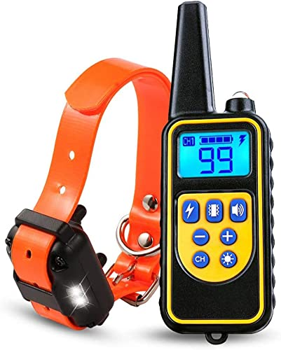 ONEKG Dog Training Collar, Shock Collar for Dogs with Remote, 2600FT 866Yd Range w 3 Training Modes, Beep, Vibration and Shock, IPX7 Waterproof, Collar for Small, Medium, Large Dogs 15lbs 120lbs