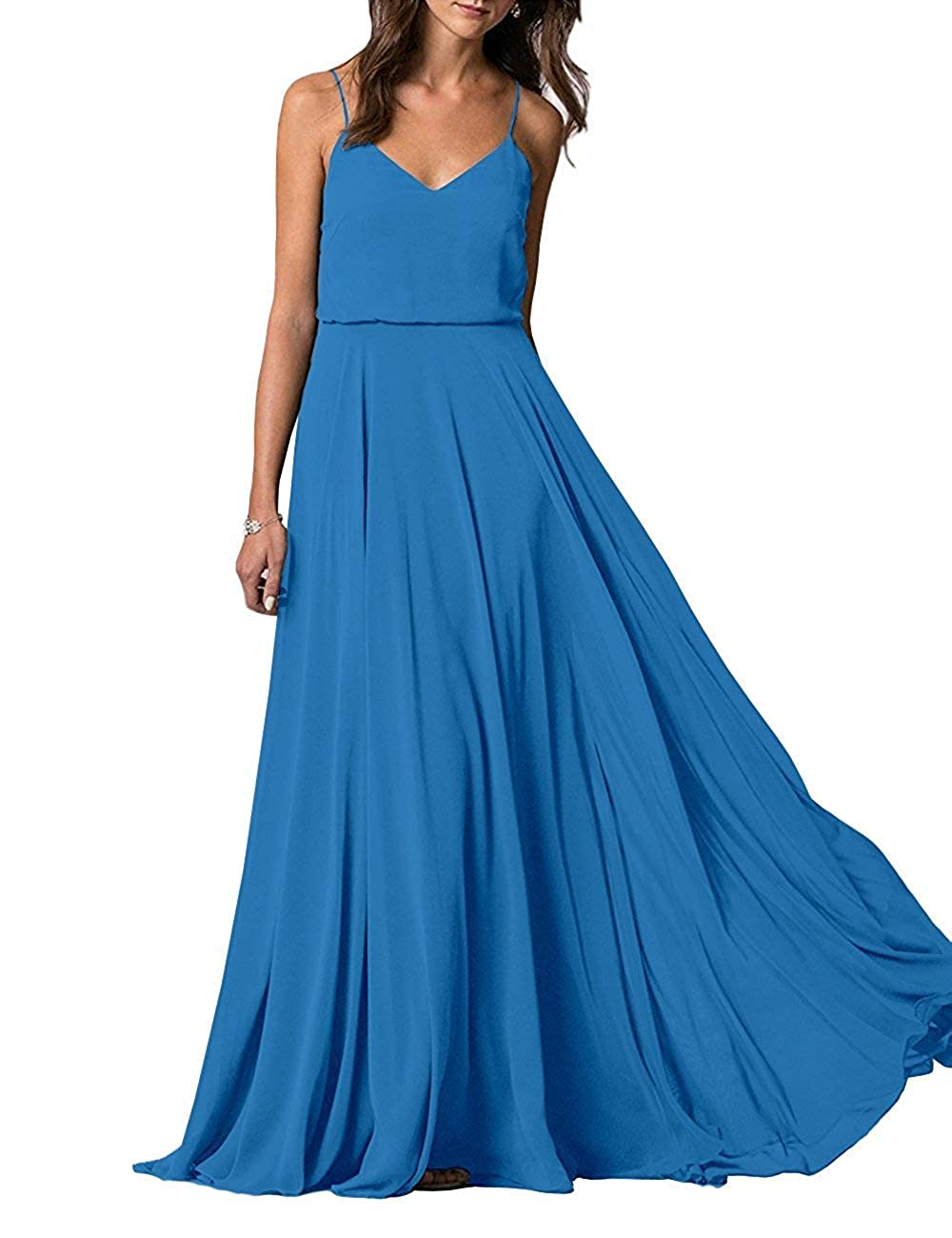 bluee YUSHENGSM Spaghetti Straps VNeck Long Bridesmaid Dress Wedding Beach Prom Skirt