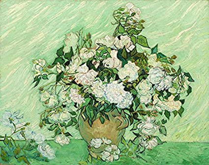 Amazon Wieco Art Vase With Pink Roses By Van Gogh Flowers Oil