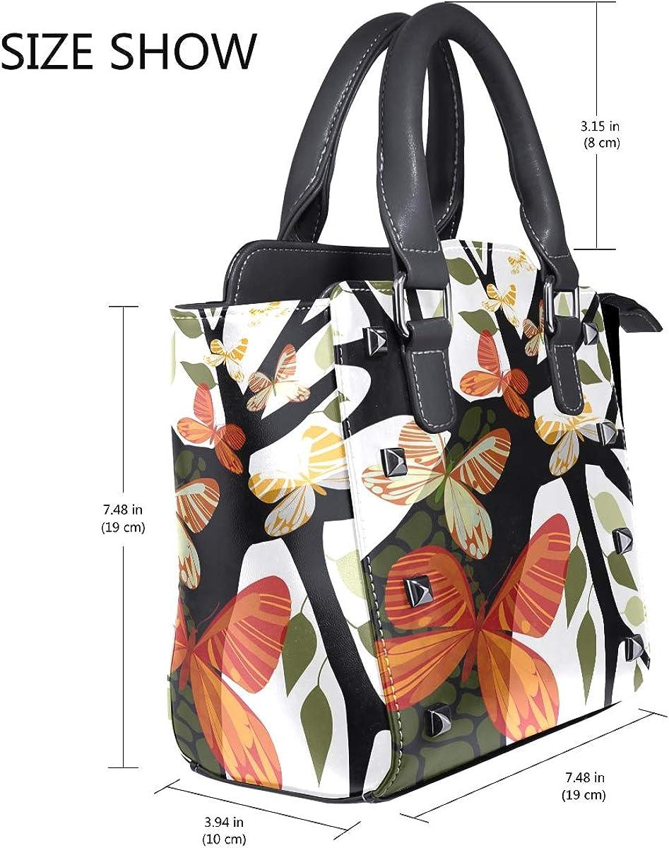 imobaby Tree With Leaves Butterflies PU Leather Girls Top-Handle Handbags Single-Shoulder Ladies Tote Crossbody Bag Messenger Bags For Women