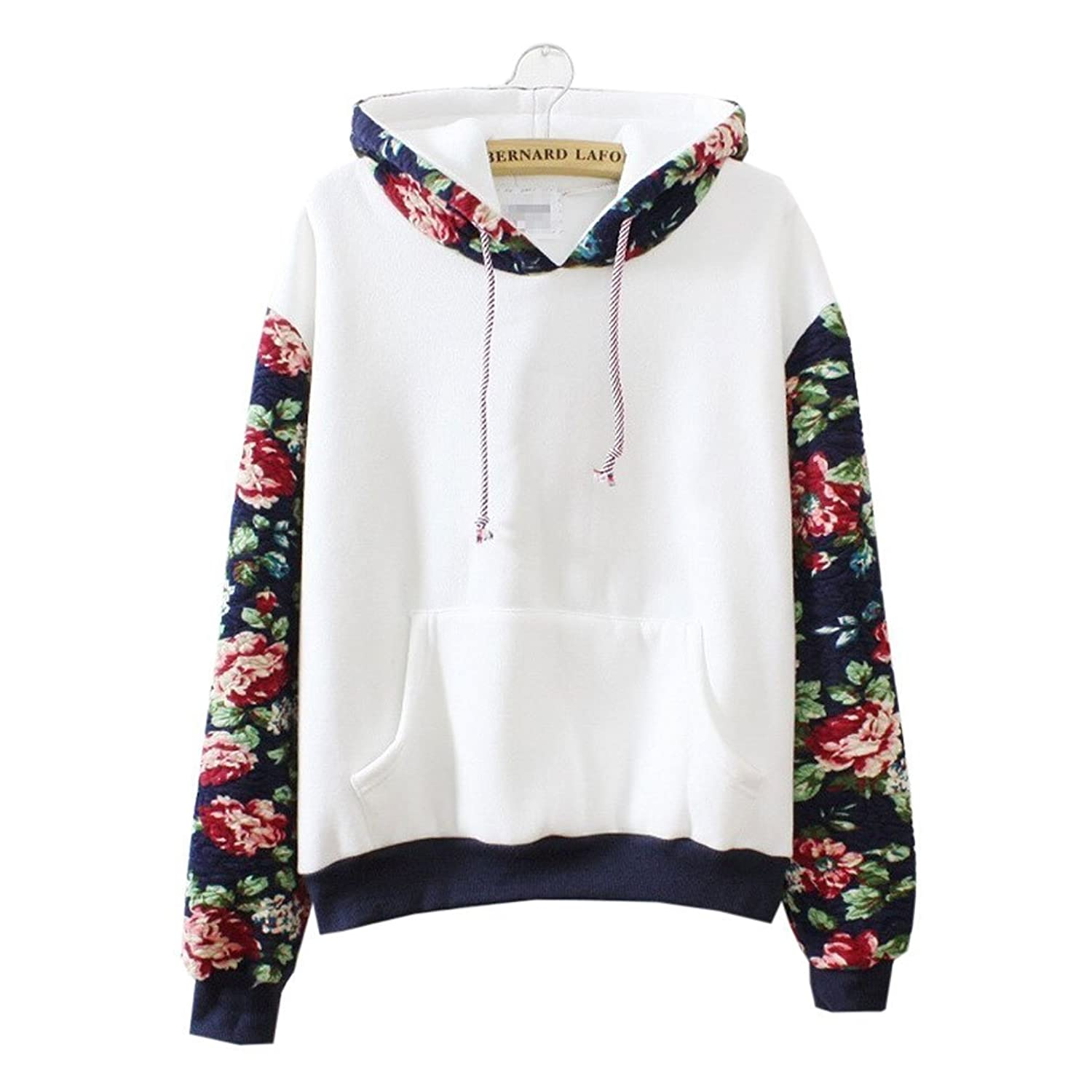 Cute Hoodies Sweater Pullover Warm Fleece Lined Flowers Sleeve White Medium