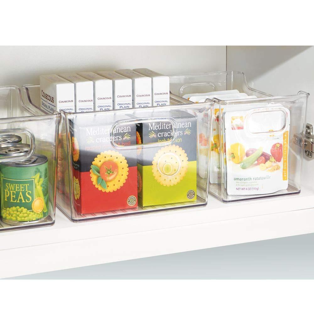hohe K/ühlschrankbox zur Lebensmittelaufbewahrung durchsichtig Ablage aus Kunststoff f/ür den K/üchen- oder K/ühlschrank mDesign Aufbewahrungsbox mit Griffen