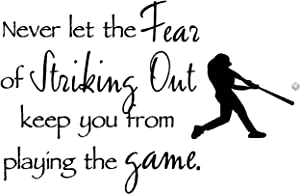 Sticker Perfect Never let The Fear of Striking Out Keep You from Playing The Game with Colored Baseball Inspirational Home Vinyl Wall Decals Sayings Art Lettering