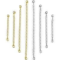 KESYOO Colar de Ouro Prata Aço Inoxidável Pulseira Extensor Conjunto de Corrente Cadeia de Extensão de Fivelas de…