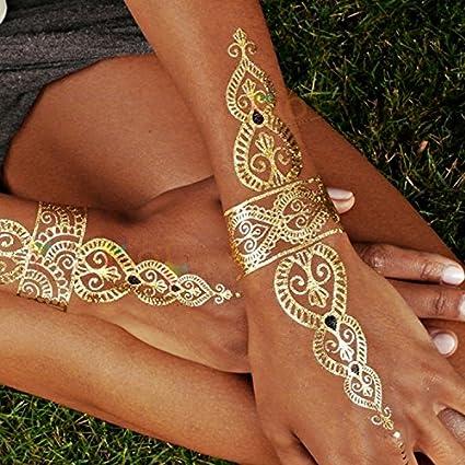 Yangll Moda Grandes Tatuajes Temporales Glitter Gold Tattoo ...