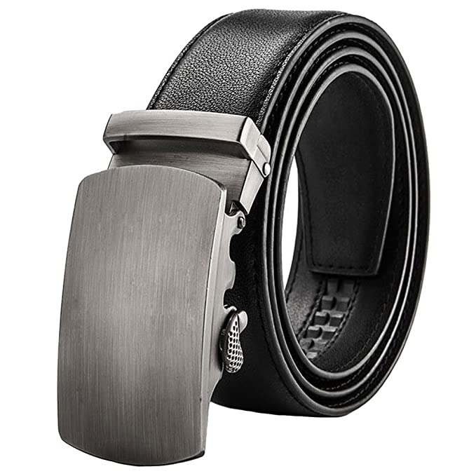 GTUKO-Cinturón Cinturón Para Hombres Piel Genuina Hebillas Automáticas Trinquete Vestido Jeans Belt 38Mm Más Ancho Encerrado En Una Elegante Caja De Regalo: ...