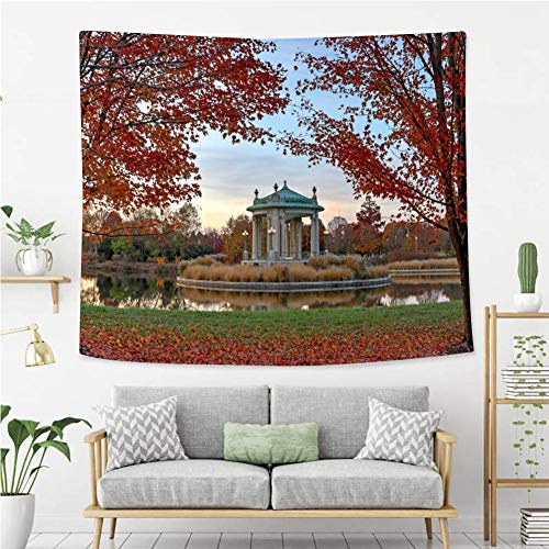 BEIVIVI Creative Custom Tapestry Fall Foliage Around The Forest Park bandstand in St Louis Missouri Polyester Fabric Tapestries for Bedroom Living Room Dorm