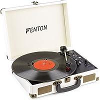 Fenton RP115G Retro Platenspeler in Koffer met Ingebouwde Speakers, Bluetooth en USB - Crème