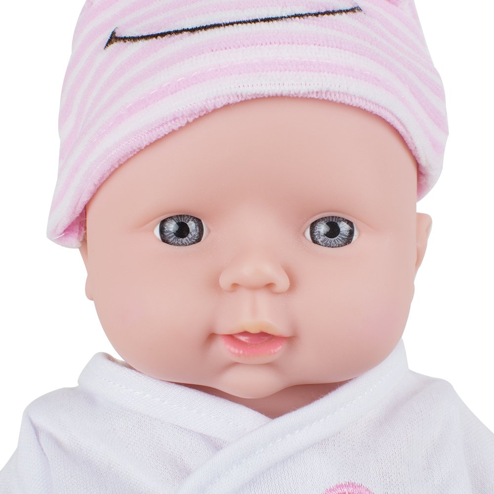 ixaer Reborn Dolls-12 inch Reborn Baby Doll Soft Vinyl Silicone Lifelike Sound Laugh Cry Newborn Baby Toy for Boys Girls Christmas Gift (Green, Pink, Yellow) (Pink)