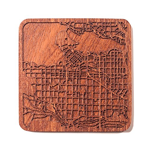 Vancouver Map Coaster by O3 Design Studio, One piece, Sapele Wooden Coaster with city map, Multiple city optional, Handmade