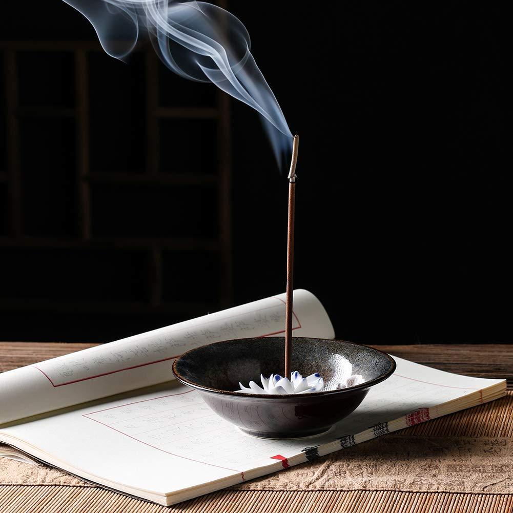 Uniidea Incense Burner Bowl, Ceramic Handicraft Incense Holder for Sticks, Coil Lotus Ash Catcher Tray 4.62 Inch Gray by Uniidea (Image #5)
