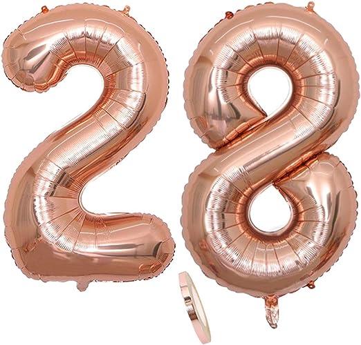 2 Globos Número 28 Años, Number 28 Globo Chica de oro rosa, 40