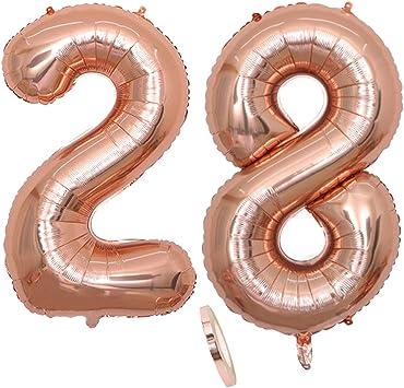 """2 Globos Número 28 Años, Number 28 Globo Chica de oro rosa, 40""""Figuras de globos con globo de lámina de helio inflable, Globo gigante para la decoración de la fiesta de cumpleaños, Prom (xxxl 100cm)"""
