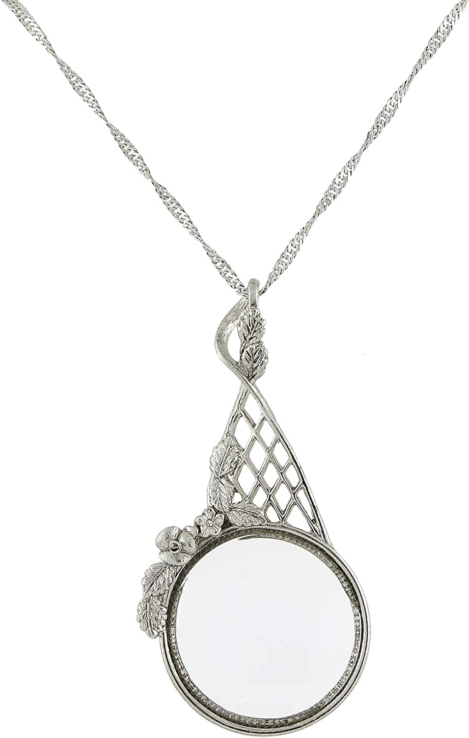 1928 Jewelry Silver-Tone Filigree Magnifying Glass Necklace
