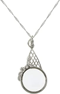 product image for 1928 Jewelry Silver-Tone Filigree Magnifying Glass Necklace 28 Inch Long - Magnification Power: X2