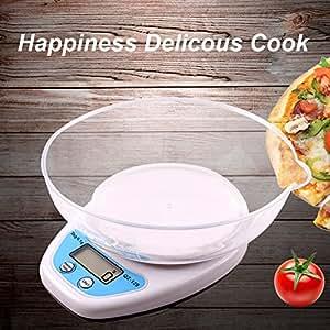 Báscula Digital con Tazón Removible para Cocina de Alta Medición Precisa, Balanza Electrónica Digital para Cocina (1-5kg, Incluye la batería AAA)