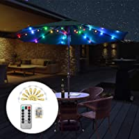 Patio Umbrella Lights,LED String Lights with Remote Control,8 Lighting Modes Battery Operated Waterproof Outdoor Umbrella Lighting for Garden Backyard,Camping Tents,Party. (4 Colors)