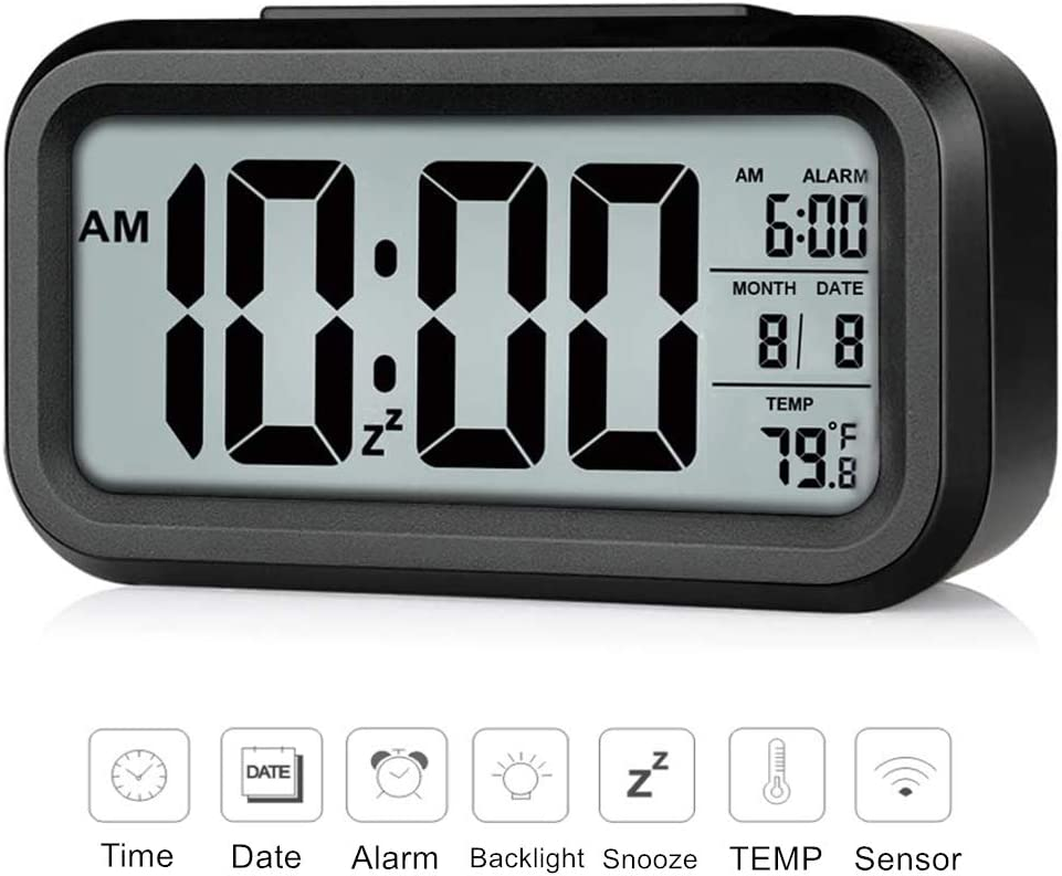 Rscolila Digital Alarm Clock Easy Read Clock with Date, Temperature, Backlight, Snooze Mini Desk Clock for Kids, Multifunctional Clock for Bedroom Office Kitchen