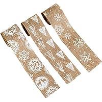 Amosfun 3 piezas cinta de arpillera de navidad