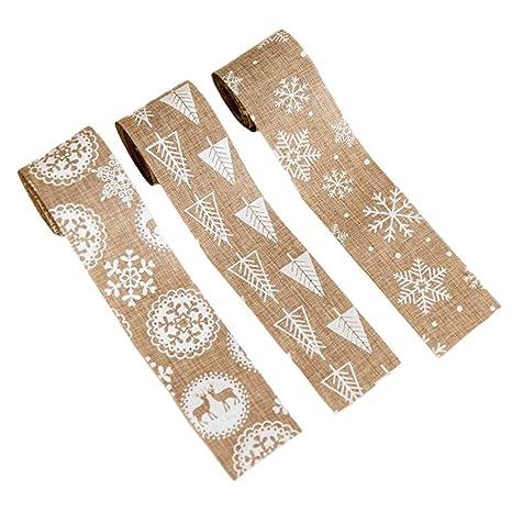 Amosfun 3 piezas cintas de navidad arpillera copo de nieve ...