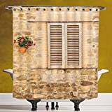 Stylish Shower Curtain 3.0 by SCOCICI [ Tuscan,Rustic Stone House and Window Shutters Flower Pot on Wall Italian Country Home Theme,Beige ] Polyester Fabric Bathroom Shower Curtain