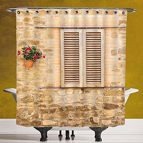 Stylish Shower Curtain 3.0 by SCOCICI [ Tuscan,Rustic Stone House and Window Shutters Flower Pot on Wall Italian Country Home Theme,Beige ] Polyester Fabric Bathroom Shower Curtain by SCOCICI