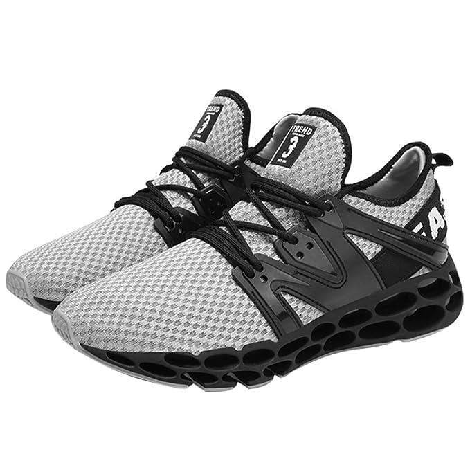 Ponte En Forma Zapatillas De Deporte Para Hombres Zapatillas Para Caminar Transporte Entrenador Ligero,Grey-39EU: Amazon.es: Ropa y accesorios