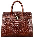 Pijushi Embossed Crocodile Purse Genuine Leather Satchel Handbags Office Padlock Bag 22130 ( Light Coffee)