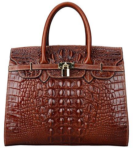 Crocodile Embossed Leather Handbag (Pijushi Embossed Crocodile Purse Genuine Leather Satchel Handbags Office Padlock Bag 22130 ( Light Coffee))
