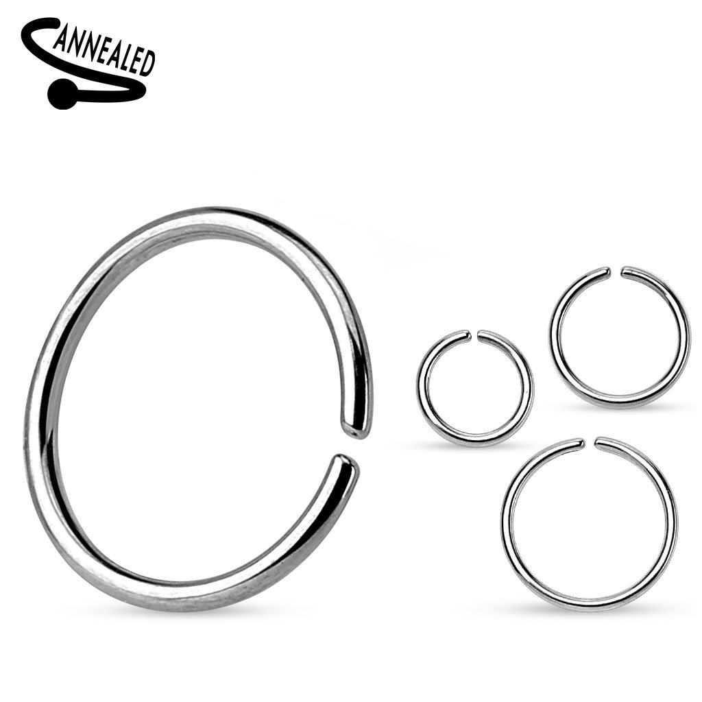 (3 pieces) 20g (0.8mm) Nose Hoop Annealed and Rounded Ends Cut Ring 316L surgical steel (nose, cartilage, eyebrow, ear, (10mm diameter) Themadhatter