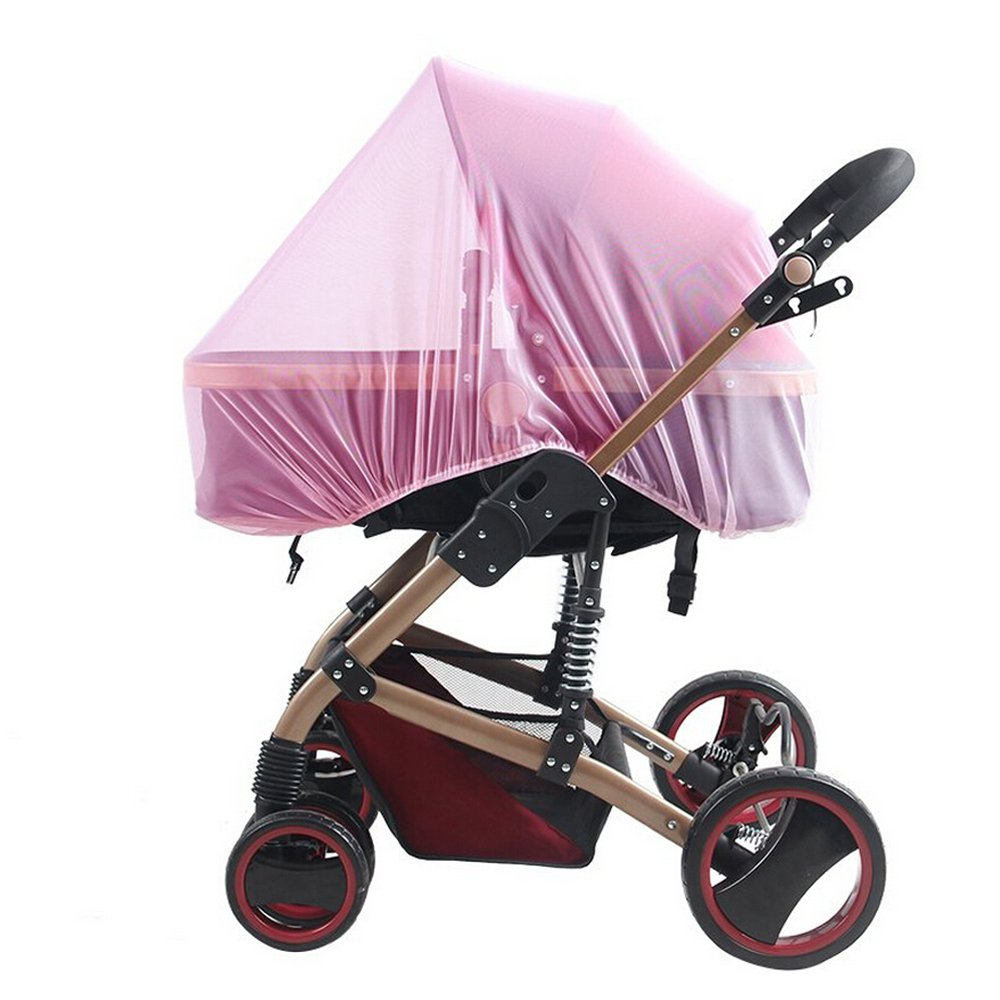 Baby Stroller Mosquito Bug Net Insect Netting Cover 59 Large Size For Pram, Buggy, Infant Carriers, Car Seats, Cradles, Cribs, Bassinets, Playpens, Baby Stroller Bed Full Mesh Cover (Pink) Inoutdoorkit BSM01