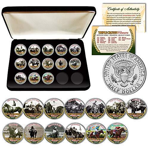- TRIPLE CROWN WINNERS Thoroughbred Horse Racing JFK Half Dollar U.S. 13-Coin Full Set with Certificate & Deluxe Box