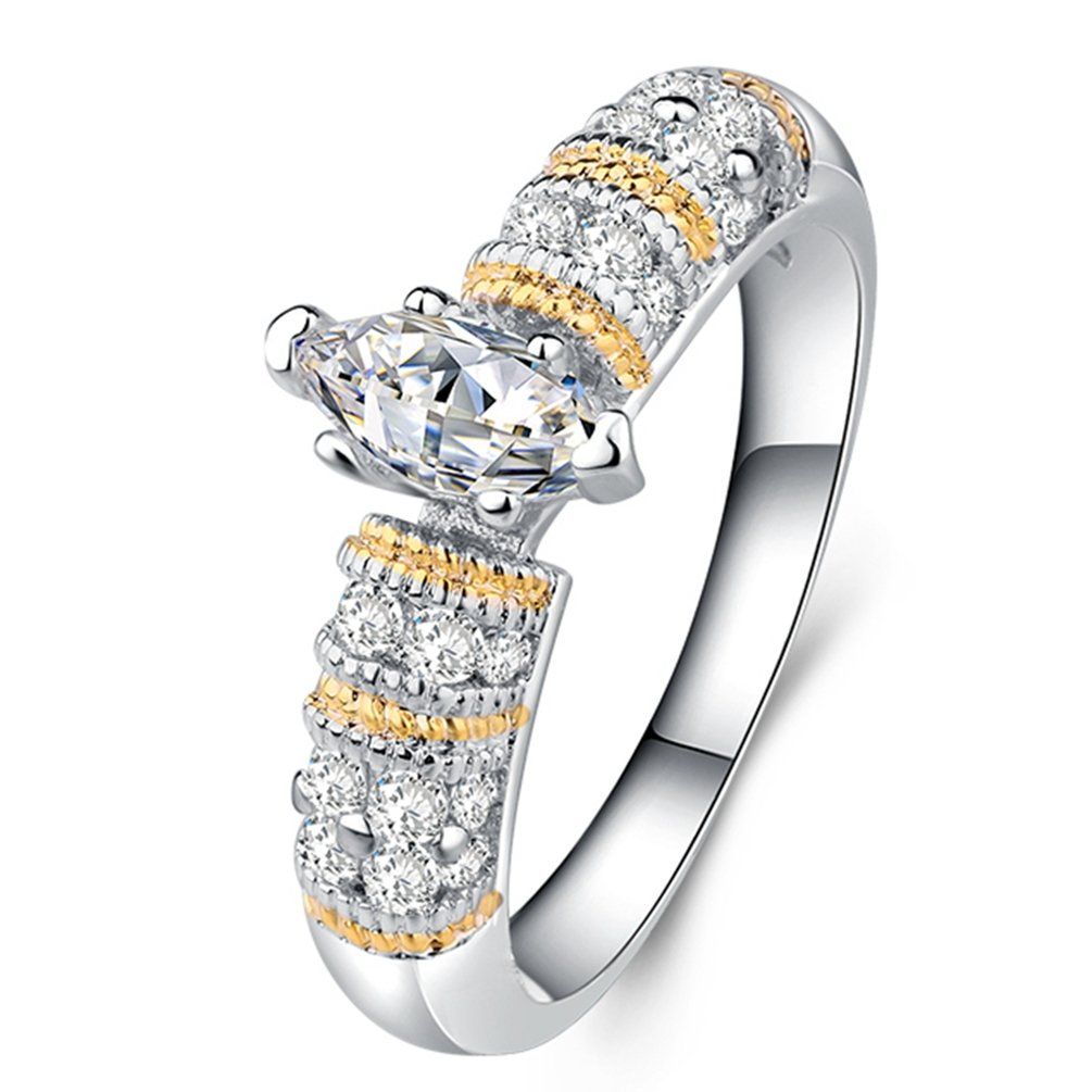 FENDINA Women's Gorgeous 18K Gold Plated Solitaire Wedding Engagement Rings Marquise CZ Diamond Eternity Love Princess Promise Rings for Her 8