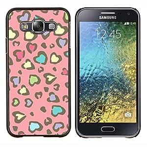 KLONGSHOP // Cubierta de piel con cierre a presión Shell trasero duro de goma Protección Caso - Modelo de la piel del guepardo del rosa amarillo - Samsung Galaxy E5 E500 //