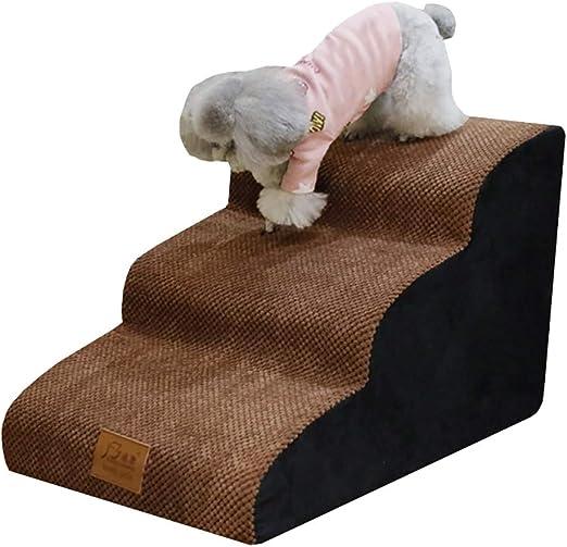Escalera de Mascota Paso 3 Rampa de escaleras para Perros para Perros, Cachorros y Gatos Grandes - marrón Funda Lavable, Acolchado de Espuma, Carga de 10 kg: Amazon.es: Hogar