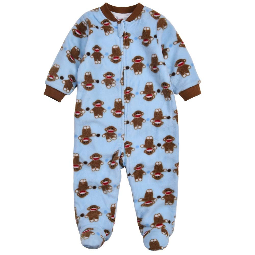 5befc7e03c2c Aablexema Baby Boys Fleece Footed Onesies Zipper 9-12 Months 2-Layer ...