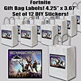 FORTNITE Stickers Video Game Truck Party Favors Supplies Decorations THANK YOU Gift Bag Label STICKERS ONLY 3.75'' x 4.75'' -12 pcs