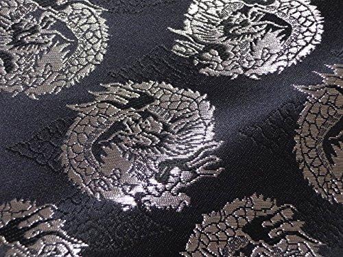 京西陣・金襴 生地 雲文地に丸龍 (黒・銀) 50cm単位 切り売り