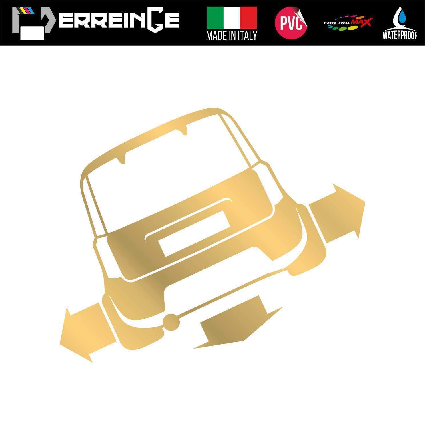 cm 12 ERREINGE Sticker compatibile per FIAT 500 DOWN OUT DUB JDM TUNING BIANCO Adesivo prespaziato in PVC per Auto Lunotto Finestrino