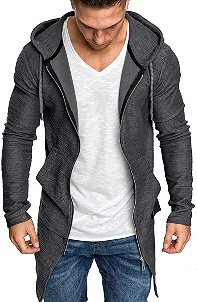 Men's Long Cardigan Sweater Hooded Zipper Slim Fit Open Front Longline Cardigans with Pockets