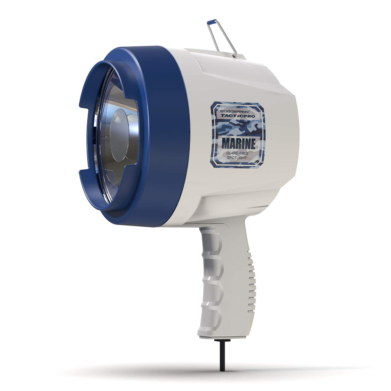 GOODSMANN TACTICPRO GLARE-FREE BLUE MAX Marine 12 Volt DC Spotlight, 100 Watt Halogen Bulb, Warm White, 9924-H202-01