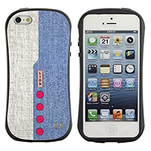 Fuerte Suave TPU GEL Caso Carcasa de Protección Funda para Apple Iphone 5 / 5S / Business Style Denim Design Blue Red Buttons Textile Fabric