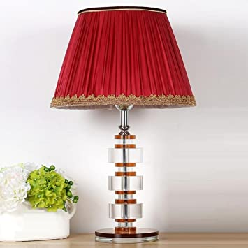 European Decorative Bedside Crystal Table Lamp Red Fabric ...